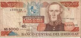 BILLETE DE URUGUAY DE 5000 NUEVOS PESOS URUGUAYOS DEL AÑO 1983  (BANK NOTE) - Uruguay