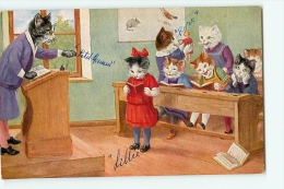 CHATS Humanisés - A L' Ecole : Leçon De Lecture , Maîtresse Et Elèves Assis Au Bureau - 2 Scans - Chats