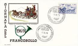 Fdc Roma: GIORNATA DEL FRANCOBOLLO 1969; No Viaggiata ;tipo 1, Corno Verde; AS_L'Aquila - 6. 1946-.. Repubblica