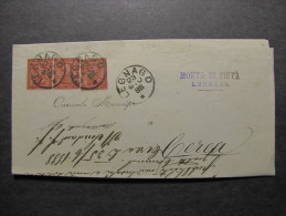 """ITALIA Regno-1866- """"T 15 Torino"""" C. 2  LEGNAGO>CEREA (descrizione) - 1861-78 Vittorio Emanuele II"""