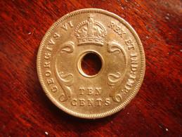 BRITISH EAST AFRICA USED TEN CENT COIN BRONZE Of 1937H  - GEORGE VI. - Colonia Britannica