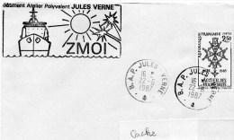 B.A.P. JULES VERNE ZMOI - CAD B.A.P. JULES VERNE Avec Horaire Levée 22/06/1987 - Postmark Collection (Covers)