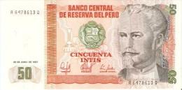 BILLETE DE PERU DE 50 INTIS DEL AÑO 1987  (BANKNOTE) SIN CIRCULAR-UNCIRCULATED - Perú