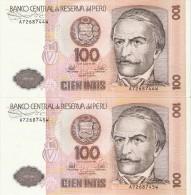 PAREJA CORRELATIVA DE PERU DE 100 INTIS DEL AÑO 1987 (BANKNOTE) SIN CIRCULAR-UNCIRCULATED - Perú