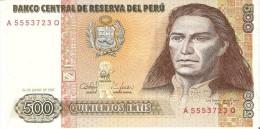 BILLETE DE PERU DE 500 INTIS DEL AÑO 1987 (BANKNOTE) SIN CIRCULAR-UNCIRCULATED - Perú