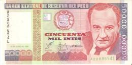 BILLETE DE PERU DE 50000 INTIS DEL AÑO 1988  (BANKNOTE) SIN CIRCULAR-UNCIRCULATED - Perù