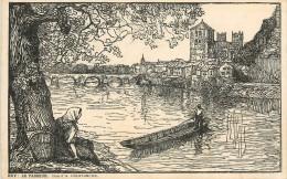 Réf : A-14-154 : Huy  Carte Illustrée Le Passeur  Bois D´A. Delstanche - Huy