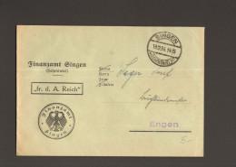 DR Singen1934 Umschlag V.Finanzamt Mit Vordruck Frei D.Ablösung Reich Nach Engen - Servizio