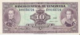 BILLETE DE VENEZUELA DE 10 BOLIVARES DEL AÑO 1977  (BANK NOTE) - Venezuela