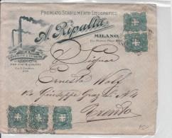 STORIA POSTALE- 1896-5CENT.PUBBLICITA'A.RIPALLA-2 COPPIE DA 2 +1 SU BUSTA Vg Da MILANO A TRENTO Timbro Al Verso - Post
