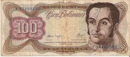 BILLETE DE VENEZUELA DE 100 BOLIVARES DEL AÑO 1987 CON RESELLO (BANKNOTE) - Venezuela