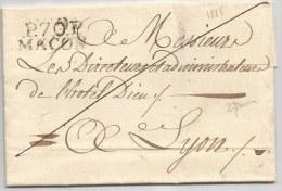 - Lettre - MARCOPHILIE - PRECURSEUR XIX ème - SAONE Et LOIRE - MACON - PORT PAYE - 1815 - 1801-1848: Precursores XIX