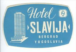 Etiquette Valise Hotel Slavija Beograd Yugoslavie Serbie Luggage Label Yugoslavia Serbia - Hotel Labels