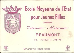 BEAUMONT : Pochette 12 CPSM - Ecole Moyenne Etat Pour Jeines Filles - Beaumont