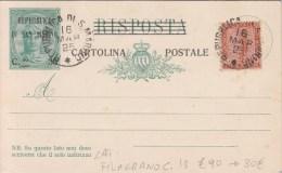 STORIA POSTALE-CARTOLINA POSTALE- REPUBBLICA DI SAN MARINO 1925-SOPRASTAMPA-FILIGRANA C.13- - Posta