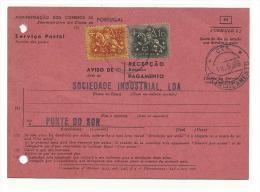 PORTUGAl - Postal Aviso Recepção -  Rara Dupla Impressão  Selo 10 Ctvs. - Variétés Et Curiosités