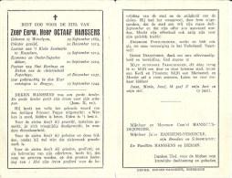 Z.E. Heer Octaaf Hanssens - Leraar Seminarie Roeselare - Pastoor St Bertinus - Deken Te Poperinge - Sept 1944 - Devotieprenten