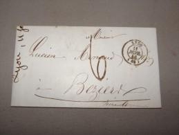 Enveloppe De Lyon Pour Béziers Du 11 Février 1846 - Marcophilie (Lettres)