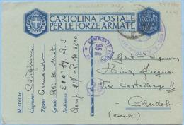 1943 POSTA MILITARE 3200 E TIMBRO R. AEROPORTO 217 + CENSURA CART. FRANCHIGIA  1.6.43 OTTIMA QUALITÀ (C172) - 1900-44 Vittorio Emanuele III