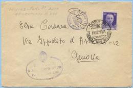 1943 POSTA MILITARE 3200 E TIMBRO R. AEROPORTO 238 + PRETURA UNIFICATA GENOVA BUSTA 14.1.43 IMPERIALE C. 50 (C171) - 1900-44 Vittorio Emanuele III