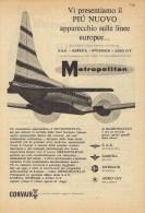 # CONVAIR 1950s Italy Advert Pub SAS SABENA SWISSAIR Airlines Airways Aviation Airplane - Advertisements
