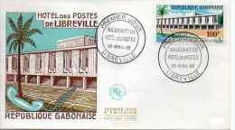 Gabon 1er Jour, First Day Cover FDC - A12 Poste Aérienne 1963, Hôtel Des Postes Libreville - Gabon (1960-...)