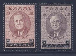 Greece, Scott # 469,471 Mint Hinged Roosevelt, 1945 - Greece