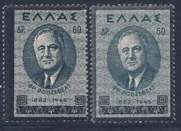 Greece, Scott # 470,470b Mint Hinged Roosevelt, 1945 - Unused Stamps