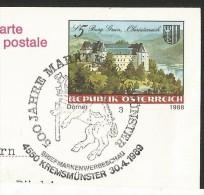 KREMSMÜNSTER Oberösterreich Postkarte Stempel 500 Jahre Markt K. Burg Grein 1989 - Kremsmünster