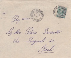 Italy 1910 5c Green King Victor Emmanuel On Cover - Italië