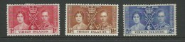 1937 Coronation Complete Mint Lightly Hinged SG Cat 107/109 High SG Cat. Value Here - British Virgin Islands