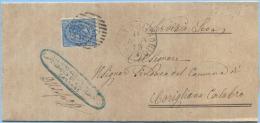 1879 CALABRIA EFFIGIE C.10 PIEGO NUMERALE SBARRE CASSANO ALL' IONIO 2.4.79 A CORIGLIANO TIMBRO ARRIVO E OTTIMA QUALITÀ - 1900-44 Vittorio Emanuele III
