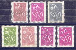 FRANCE  Yvert  N° 3757-3758-3765-3767-3769-3971-4157  Oblitérés - 2004-08 Marianne De Lamouche