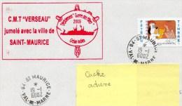 """CHASSEUR DE MINES """" VERSEAU """" Jumelé Avec La Ville De SAINT-MAURICE - Variété CAD 94-St-MAURICE VAL-DE-MARNE 19/01/6002 - Postmark Collection (Covers)"""