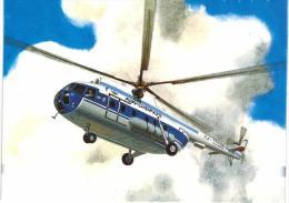 Thème -  Hélicoptère - Aeroflot - MI 8  Helicopter - Elicotteri