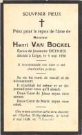 Henri Van Bockel - Liége 1925 - E. De Jeannette Dethier - Overlijden