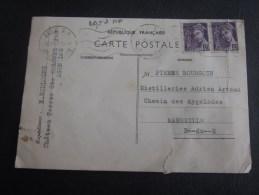 Carte Postale Lettre Agen RP Pour Distillerie Artaud MarseilleTimbre Type Mercurel Sur Lettre 1940:disette De Savon Rare - Marcophilie (Lettres)