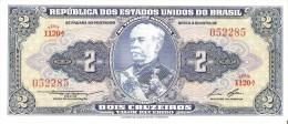 BILLETE DE BRASIL DE 2 CRUZEIROS COLOR AZUL (BANK NOTE) SIN CIRCULAR-UNCIRCULATED - Brazil