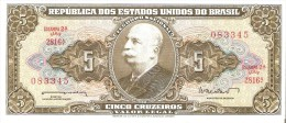 BILLETE DE BRASIL DE 5 CRUZEIROS DEL AÑO 1962 (BANK NOTE) - Brasil