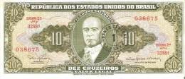 BILLETE DE BRASIL DE 10 CRUZEIROS RESELLO 1 CENTAVO (BANK NOTE) - Brasil