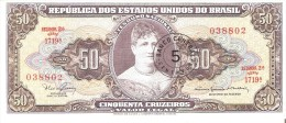 BILLETE DE BRASIL DE 50 CRUZEIROS RESELLO 5 CENTAVOS (BANK NOTE) SIN CIRCULAR-UNCIRCULATED - Brasil