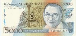 BILLETE DE BRASIL DE 5000 CRUZADOS DEL AÑO 1986 RESELLO 5 CRUZADOS NOVOS (BANKNOTE) SIN CIRCULAR-UNCIRCULATED - Brasil
