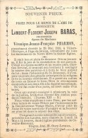 Lambert-Florent-Joseph Baras - Professeur - Villers-l'Evêque 1899, à L'âge De 54 Ans - Ep. De Véronique Pharmon - Esquela