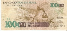 BILLETE DE BRASIL DE 100000 CRUZEIROS  (BANK NOTE) COLIBRI-MARIPOSA-BUTTERFLY - Brasil