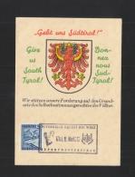 Österreich PK 1946 Gebt Uns Tirol ! - 1945-60 Briefe U. Dokumente