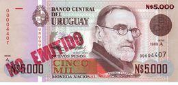 URUGUAY 10 NUEVOS PESOS ON 10000 PESOS ( 1975 ) PICK # 58 UNC. - Uruguay