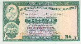 Hong Kong, 10 Dollar, Pick Nr.182 G, 1976, UNC ! - Hongkong