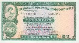Hong Kong, 10 Dollar, Pick Nr.182 I, 1981 ! - Hongkong
