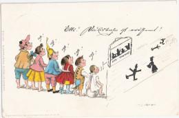 Kinder Humor Postkarte Nr 109 Handgemalt Ergänzt Mit Hinweis Auf Eröffnung Eisbahn In Hamburg Und Eis Concert 27.1.1899 - Enfants