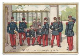 """Chromo Publicité Chicorée Extra Marque """"La Belle Jardinière"""" - Magasin C. Bériot, Lille - Militaires """"le Corps De Garde"""" - Thé & Café"""